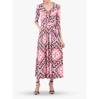 Jolie Moi Geometric Print Cross Over Maxi Dress, Pink/Multi