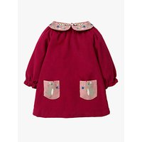 Mini Boden Baby Embroidered Collar Dress, Bramble Red Mice