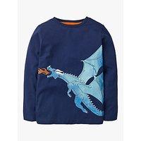 Mini Boden Boys Shiny Creature Cotton T-shirt, College Blue Dragon