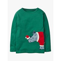 Mini Boden Boys Festive Dress Up Rhino T-Shirt, Green