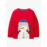 Mini Boden Boys Fluffy Festive Snowman T-Shirt, Poppadew Red