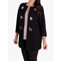 Chesca Eyelet Trim Bonded Jersey Split Cuff Coat, Black