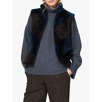 Brora Chevron Sheepskin Gilet, Teal