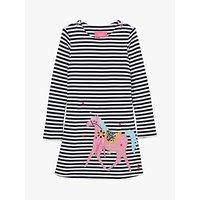 Little Joule Girls' Kaye Horse Print Dress, Navy