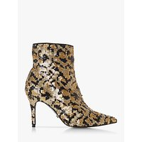 shop for Dune Olivine Printed Sequin Stiletto Heel Ankle Boots, Multi Leopard at Shopo