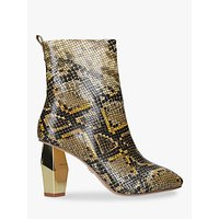 shop for Kurt Geiger London Daxon Gold Heel Ankle Boots at Shopo