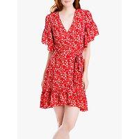Max Studio Floral Print Ruffle Wrap Dress, Scarlet