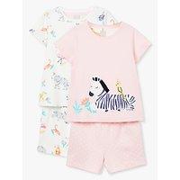 John Lewis & Partners Girls' Safari Print Short Pyjamas, Pack of 2, Multi