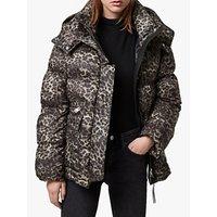 AllSaints Kala Leopard Puffer Jacket, Brown