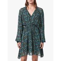 AllSaints Nichola Plume Dress, Opal Green