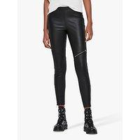AllSaints Kriva Leather Biker Leggings, Black