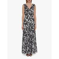 Gina Bacconi Ineska Floral Maxi Dress, Black/Silver