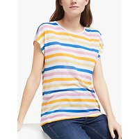 Collection WEEKEND by John Lewis Cap Sleeve Stripe Linen Blend T-Shirt, Multi