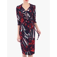 Jolie Moi Revere Collar Floral Print Pencil Dress, Blue/Multi