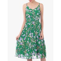 Jolie Moi Strappy Floral Pleated Midi Dress, Green Floral