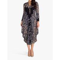 chesca Floral Jersey Midi Dress, Grey/Mocha