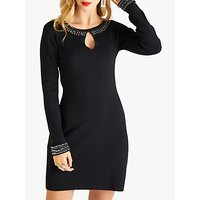 Yumi Embellished Knit Tunic Dress, Black