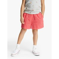 John Lewis & Partners Girls' Broderie Shorts, Coral