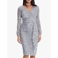 Adrianna Papell Crunchy Beaded Dress, Silvermist