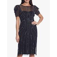 Image of Adrianna Papell Puffed Shoulder Short Beaded Dress, Black/Gunmetal