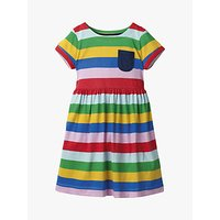 Mini Boden Girls' Rainbow Striped Jersey Dress, Multi