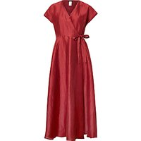 Weekend MaxMara Terrino Linen Silk Wrap Dress, Bordeaux