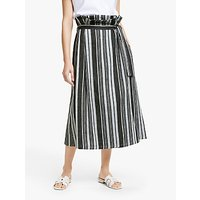 Weekend MaxMara Giada Stripe Linen Blend Skirt, Black/Multi