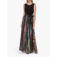Gina Bacconi Aga Sequin Embellished Maxi Dress, Black/Multi