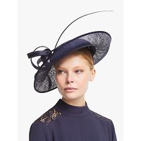 John Lewis and Partners Arabella Floral Lace Wide Disc Occasion Hat, Navy
