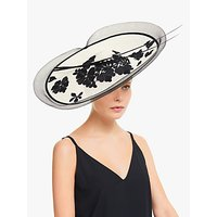 John Lewis and Partners Anna Floral Lace Wide Disc Occasion Hat, Ivory/Black