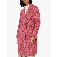 Monsoon Esme Herringbone Coat, Red