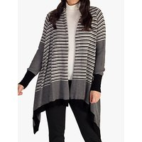 chesca Stripe and Plain Merino Wool Mix Cardigan, Black/Stone