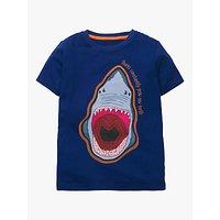 Mini Boden Boys Shark Fact Appliqué T-Shirt, College Navy