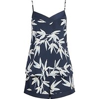 John Lewis and Partners Lucy Camisole And Short Satin Pyjama Set, Blue