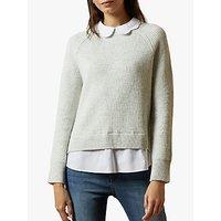 Ted Baker Uleen Shirt Collar and Hem Jumper, Light Grey