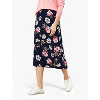 Joules Anais Floral Side Button Midi Skirt, Navy