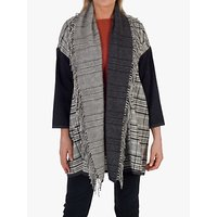 chesca Check Fringe Detail Cardigan, Grey