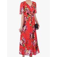 Jolie Moi Floral Print Mesh Maxi Dress, Bright Red/Multi