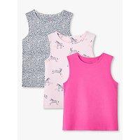 John Lewis & Partners Girls' Zebra Vest Tops, Pack of 3, Pink/Multi