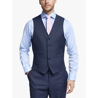 John Lewis and Partners Barberis Wool Tailored Suit Waistcoat, Blue