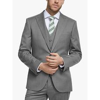 John Lewis and Partners Barberis Wool Tailored Suit Jacket, Light Grey