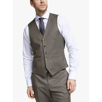 John Lewis and Partners Barberis Wool Tailored Suit Waistcoat, Light Brown
