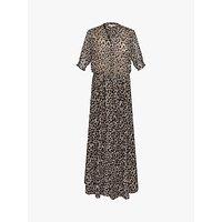 Gerard Darel Solidea Silk Blend Floral Maxi Dress, Black