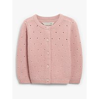 John Lewis and Partners Baby GOTS Organic Cotton Pointelle Cardigan, Pink