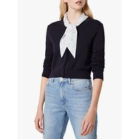French Connection Lissa Neck Scarf Cardigan, Utility Blue/White