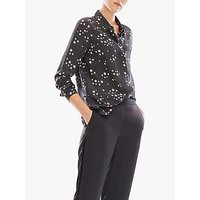 Pure Collection Star Print Relaxed Silk Blouse, Navy