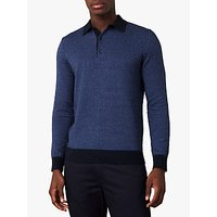 Jaeger Stripe Cotton Silk Knit Polo Top, Dark Blue