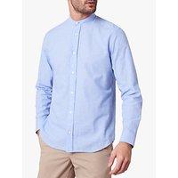 Jaeger Cotton Linen Collarless Shirt, Light Blue