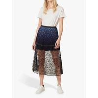French Connection Amadika Lace Ombré Pleated Skirt, Indigo/Multi