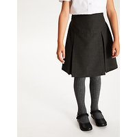 John Lewis and Partners Girls The Basics Adjustable Waist Basic School Skirt, Pack of 2, Grey